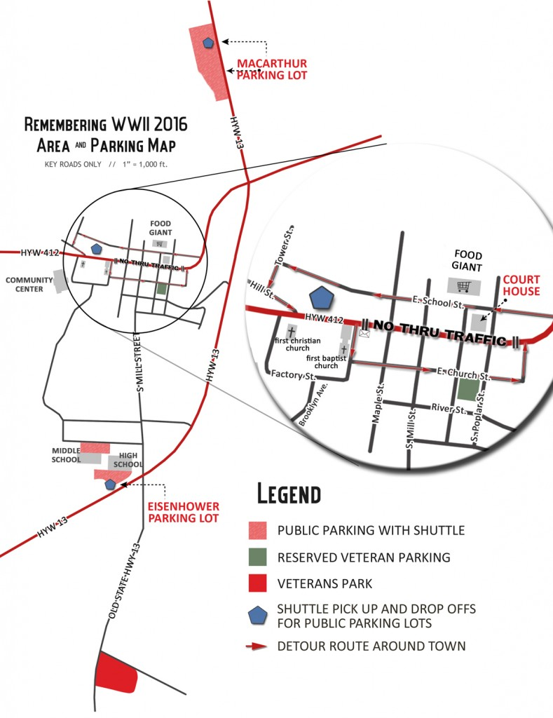 Remembering WWII 2016 Event Parking Map
